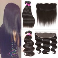 Wholesale Indian Virgin Frontal Closures - New Peruvian Virgin Straight Hair 3 Bundles with Lace Frontal Closure Indian Brazilian Malaysian Cambodian Body Wave Cheap Human Hair Weaves