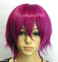 Wholesale Dark Rose Red Wig - Exquisite Unique Short Straight Dark Rose red Cosplay Wig Free Hairne