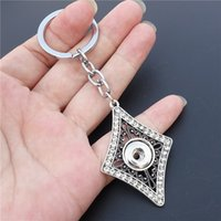 12pcs / lot Vintage Rhinestone Lozenge Keyrings Noosa Chunks Metal Ginger Alloy 12mm Snap Buttons Key Chains Men Jewelry