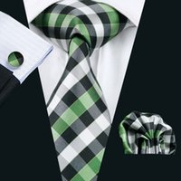 Wholesale Men S Neck Ties Silk - LS-942 2016 Hot Sell Men`s Green Plaid 100% Silk Tie Gravata Hanky Cufflink Set For Men Formal Wedding Party Groom Free Shipping