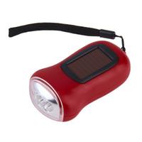 Wholesale Warm White Flashlight - Mini Portable Hand Crank Dynamo 3 LED Solar Powered Flashlight Camping Torch