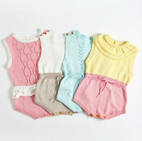 Wholesale Boys 4t Overalls - 2017 INS Hot Boys Infant Rompers Baby Girls jumpsuits Ruffles Princess Girl Sweet Knitted Overalls Infant Romper 60-100cm