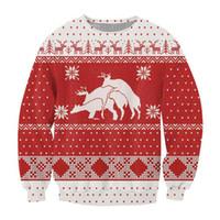 Wholesale Animal Crewneck Sweatshirt - Wholesale-harajuku style women men Merry Bucking Sweatshirt fashion Crewneck Christmas Sweatshirt 3d printed graphics hoodies