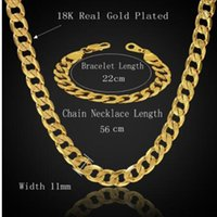 Wholesale Gold Jewelery Sets - Dubai African Jewelry Set Hiphop Thick Chain Gold Color Mens Jewelry Sets Necklace Bracelet Sets For Men, Male Jewelery Sets
