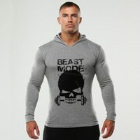 Wholesale Skulls Mode - Wholesale-Autumn Men Beast Mode Hoodies Fitness Bodybuilding Hoodies Gyms Pullover Cotton Sweatshirts Plus Size