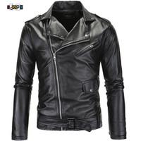 Wholesale Punk Leather Jacket Men - Wholesale- Punk Style Brand Clothing PU Leather Jacket Men Motorcycle Slant Zipper Slim Fit For Men