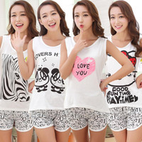 Wholesale Night Sexy Suit Women - Pajamas For Women Cartoon Sexy Set Brand Famaily Two Piece Sets Sleeveless Tops Shorts Set Night Suit Cute Clothes Sleepwear Women's Sets