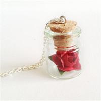 Wholesale Mini Love - 12pcs lot Little Prince Mini Glass Pink Rose Bottle Necklace Valentine's Day Love Mori Girl Woodland