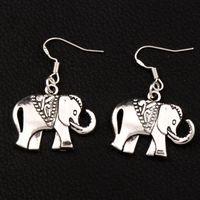 Wholesale animal ears - Royal Elephant Earrings 925 Silver Fish Ear Hook Dangle 30pairs lot Antique Silver Chandelier E1396 25x38mm