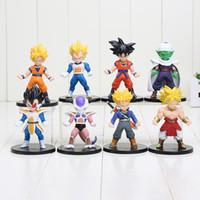 Wholesale Wholesale Dragon Models - 8pcs set Dragon Ball Z Son Goku Trunks Vegeta Piccolo Super Saiyan PVC Figures Collectible Model Toys 10cm