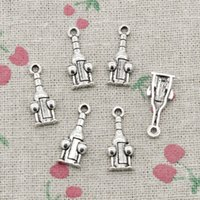 Wholesale Silver Pendants Wind - 100pcs Charms wind bottle and glasses 20*18mm Antique Silver Pendant Zinc Alloy Jewelry DIY Hand Made Bracelet Necklace Fitting