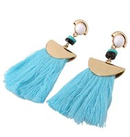 Wholesale Long Turquoise Earrings - 18 K Gold Plated Women Ethnic Vintage Gold Alloy Earrings Long Fringe Earrings Handmade Jewelry Tassel Earrings QD