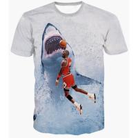 Wholesale Shirt 3d Shark - 2017 fashion T-shirt Men or Women 3d Tshirt Print Jordan war sharks hot style Creative Short Sleeve casual T shirt