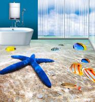 Wholesale Wall Tile Mural Ship - Wholesale-Free Shipping custom 3D floor tiles wall tiles wallpaper bathroom beach 3D flooring wallpaper mural