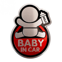 Wholesale 3d Stickers Baby - Aluminum Alloy Car Styling Sticker Cute BABY IN CAR Pattern Car Safety Warning Stickers Waterproof Window Sticker Auto Decal