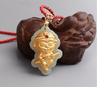 Wholesale Certified Jade - Certified 24k Yellow Gold Pendant 100% Natural Jadeite Jade Monkey Pendant