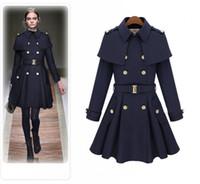 Wholesale Navy Blue Women Outwear - 2017 Autumn Winter Coats For Women Ladies Long Elegant Overcoat Outwear Navy Blue Beige Wool Blends Free Shipping