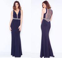 красивые темно-синие платья выпускного вечера оптовых-Темно-синий Глубокий V шеи двойные ремни красивое вечернее платье вечернее платье обратно видеть сквозь бисером платье выпускного вечера с Rhinesones ADE012