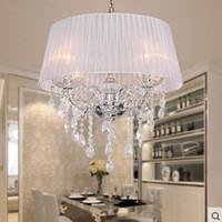 Moderne Rosa Kronleuchter Großhandel Fabric Schirm LED Moderne K9  Kristallleuchter 50cm 4 * E14 Führte