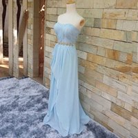 Wholesale Dark Blue Crystal Wedding Belt - Country Style Light Blue Bridesmaid Dress Long Chiffon Wedding Party Formal Gowns Ruched Top Strapless Crystals Belt