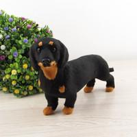 Wholesale Dog Toy Simulation Model - Wholesale- black dachshund dog toy plastic& furs simulation animal model about 21x12cm , home decoration Xmas gift w5804