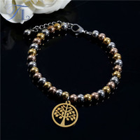 Wholesale Indian Bead Tree - TL Stainless Steel Bracelets Gold Silver Rose Gold Beads Mixed Beaded Bracelet Golden Tree Of Life Charm Bracelet Extend Chains