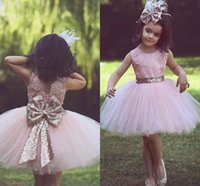 Wholesale Mini Sequined Bows - 2018 Pink Short Flower Girl Dresses for Country Weddings Party Sequined Bow Tutu Crew Neck Lace Baby Toddler Birthday Formal Dresses