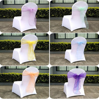 Wholesale Organza Chair Gold - Latest Hot Sale Custom Made Spandex Chair Covers 18*275CM Organza Chair Sash Lycra Wedding Chair Cover