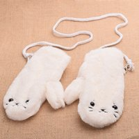 Wholesale 1 pair Girls Winter White Gloves Warm Lovely Cartoon Soft Plush Gloves Seal Pattern Mittens Gifts