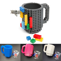 plastic block coffee - in stock Building Blocks Mugs DIY Creative Drink Coffee Cup Men Women Children Personalized Decompression Water Cup Color WX C13