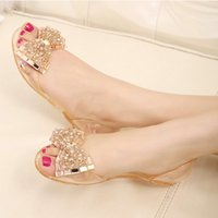 Wholesale Beaded Flat Dress Shoes - The new Europe and the United States beaded rhinestone bow transparent jelly shoes flat breathable wear comfortable women sandals