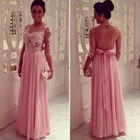 Wholesale Long Sleeved Dresses For Prom - Pink Sleeved Evening Dresses Chiffon Appliqued A-line Long Floor Length Prom Gowns With Sash Illusion Backless Dress For Women