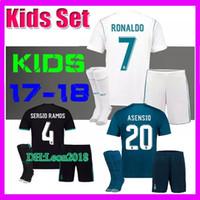 Wholesale Set Boys White - Kids set 2017 2018 Real Madrid Soccer Jersey 17 18 RONALDO MODRIC BALE ISCO KROOS RAMOS Asensio Football jerseys child youth kit Shirt