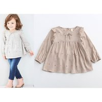 Wholesale Best White Blouses - 2017 New Spring Autumn Girls Dots bowknot Tops Blouses Children Shirts baby cotton lace Long Sleeve T Shirts best Tee Shirts Lovekiss A37