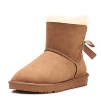 Wholesale Boots Bow Suede - 2018 Australian classic genuine leather wool fur lined Ankle Boot suede women winter snow boots bailey bow navy blue brown Mini boots us5-10