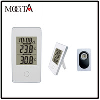 Wholesale Digital Wireless Weather Station - HOT Simple Style MOCITA Wireless Weather Station White Indoor Outdoor Digital Thermometer Snooze Alarm Clock Freezing point alarm
