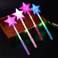 Wholesale Concert Girls Flashing - LED Light Stick Five Pointed Star Flash Sticks Glowing In The Dark Toys For Concert Performance Props 1 75zc B