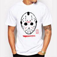 Wholesale t shirts print machines - Print T Shirt Summer Style Fashion Short Sleeve Printing Machine Crew Neck Delirious Scary Mask T Shirts
