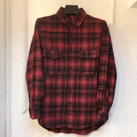 Wholesale Top Plaid Shirt Woman - Good Quality Flannel Shirt Fashion Red Plaid Shirts Men Women Long Casual Shirt Oversized Tops Outerwear Hip Hop PXG0755