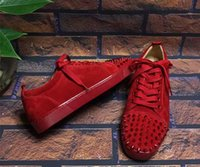 Wholesale B Production - 2016 new Arrival Low to help couples luxury brand casual shoes,red shoes,Deerskin production,,women size:35-41 men size:38-46