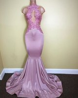 Wholesale Strech Dresses - Sexy Pink See Through African Prom Dresses Mermaid High Neck Strech Sweep Train Evening Party Gown Lace Appliqued Formal Pageant Dress