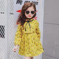 roupas de criança dressy venda por atacado-2017 primavera outono meninas causal dress ruffles gola manga longa princesa dress crianças dressy clothing amarelo