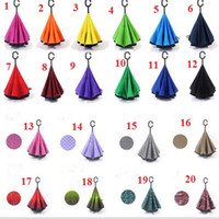 Hot selling Inverted Umbrella Double Layer Reverse Rainy Sunny Umbrella 20 Styles with C J Handle Self Standing Inside Out Special Design Free Shipping