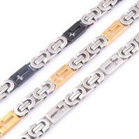 Wholesale Silver Tone Jewelry Box - Wholesale- Fashion Byzantine Box Chain Stainless Steel Necklace Mens Gold Black Silver Tone Chain Necklace Personalized Gift Jewelry