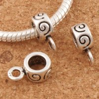Wholesale Metal Craft Charms - Spiral Charms Bail Big Hole Beads 100pcs lot 4.8mm Hole Tibetan Silver Fit Bracelets Craft DIY 8x12mm L697