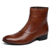 Wholesale Mens Cowboy Boots Brands - Brand fashion zip mens motorcycle boots genuine leather round toe men dress shoes Italian designer cowboy botas 2017