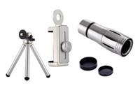 ingrosso telescopio iphone tripod-Universale 12X Zoom Phone Telescope Teleobiettivo Fotocamera con treppiede per iPhone Smartphone cellulari Android