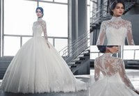 Wholesale White Long Sleeve Gown Dh - 2017 Fall Winter Romantic White Ivory Lace Ball Gown Wedding Dresses High Neck Long Sleeves Sweep Train 010-DH Elegant Bridal dresses