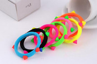 Wholesale Animal Connections - Brand new Candy color hair ring head rope fluorescent rivets hairpin seamless connection FQ035 mix order 100 pieces a lot