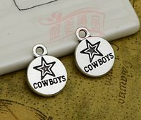 Wholesale Wholesale Team Logo Necklace - team charms 100pcs lot--12mm, Antique silver plated Dallas Cowboys team logo charms,DIY supplies,Jewelry accessories logo charm